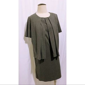COS Gray Pleated Layered Dress Small